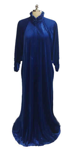 VINTAGE KEYLOUN LUXURIOUS PANNE VELVET RUCHED DRESSING GOWN IN A FABULOUS SHADE OF MIDNIGHT SAPPHIRE