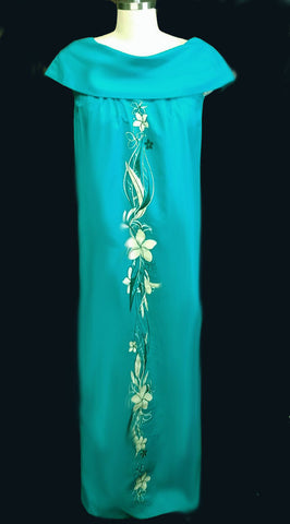 VINTAGE 1960s KIYOMA OF HAWAII DEEP TURQUOISE FLORAL & LEAF SCREEN PRINT DRESS