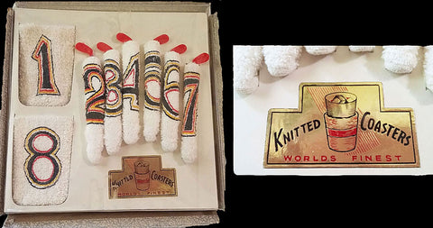 "VINTAGE ""WORLDS FINEST KNITTED GOLF COASTERS"" & GOLF STICK STIR STICKS - NEW OLD STOCK"