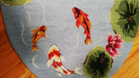 BRAND NEW - NEVER USED - VERY UNIQUE WITH BEAUTIFULLY COLORED KOI FISH & WATER LILIES WOOL RUG