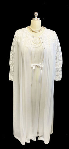 VINTAGE '60s/ '70s KOMAR BRIDAL TROUSSEAU DOUBLE NYLON LACE PEIGNOIR & NIGHTGOWN SET
