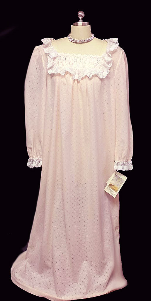 NEW OLD STOCK - VINTAGE VICTORIAN LOOK FANCY KOMAR COZY' 'N CAREFREE NIGHTGOWN DRESSING GOWN IN SWEET DREAMS ADORNED WITH LACE & SATIN - NEW WITH TAGS - SIZE LARGE