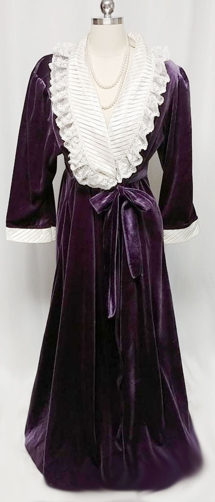 VINTAGE VICTORIAN LOOK FANCY KOMAR VELVETY VELOUR ROBE DRESSING GOWN ...