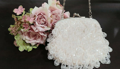 VINTAGE KRISTINO SPARKLING HEAVILY LARGE FROSTED BEADS, MINIATURE BEADS AND SEQUINS EVENING BAG - LOOKS NEW