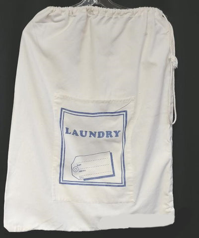 VINTAGE BLUE & WHITE LARGE LAUNDRY OR STORAGE BAG WITH DRAWSTRING TOP