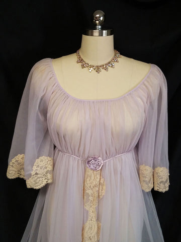 VINTAGE VERY FANCY DOUBLE NYLON JENELLE OR ROVEL DRENCHED IN LACE NIGHTGOWN WITH SATIN ROSE IN EUROPA