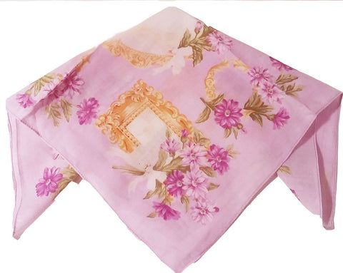 VINTAGE 50s/ 60s LAVENDER GOLD MIRROR FRAMES HANDKERCHIEF ADORNED WITH BOUQUETS