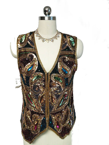 LAWRENCE KAZAR FROM NORDSTROMS ALL SEQUIN SILK VEST - NEW WITH TAGS