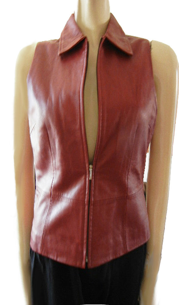 NEW BURGUNDY LAMBSKIN LEATHER LINED VEST - PERFECT FOR FALL & WINTER