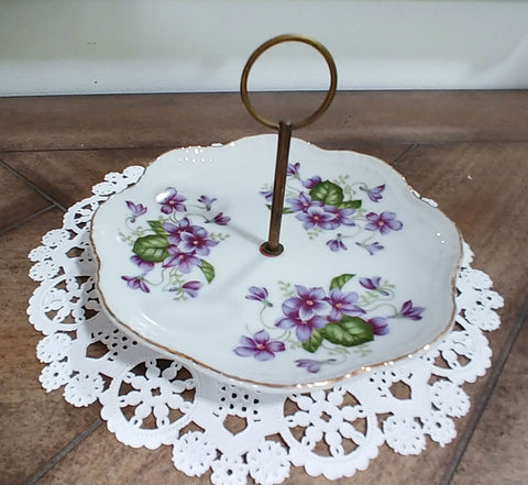 VINTAGE LEFTON HAND PAINTED AND NUMBERED VIOLETS CANDY DISH PLATE WITH METAL HANDLE