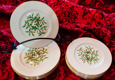 LENOX HOLIDAY SPECIAL PRESIDENTIAL HOLLY BERRY SALAD DESSERT / PLATES - SET OF 4 - SET #1