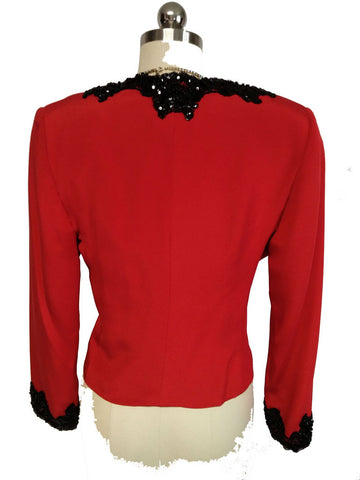 VINTAGE '80s LIAN CARLO NEIMAN MARCUS SCARLET EVENING JACKET ENCRUSTED WITH BLACK CHANTILLY LACE,  SPARKLING SEQUINS & BEADING