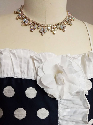 VINTAGE '80s LILLIE RUBIN & A. J. BARI NAVY & WHITE DOT RUFFLED PARTY COCKTAIL DRESS WITH A HUGE SASH & BOW