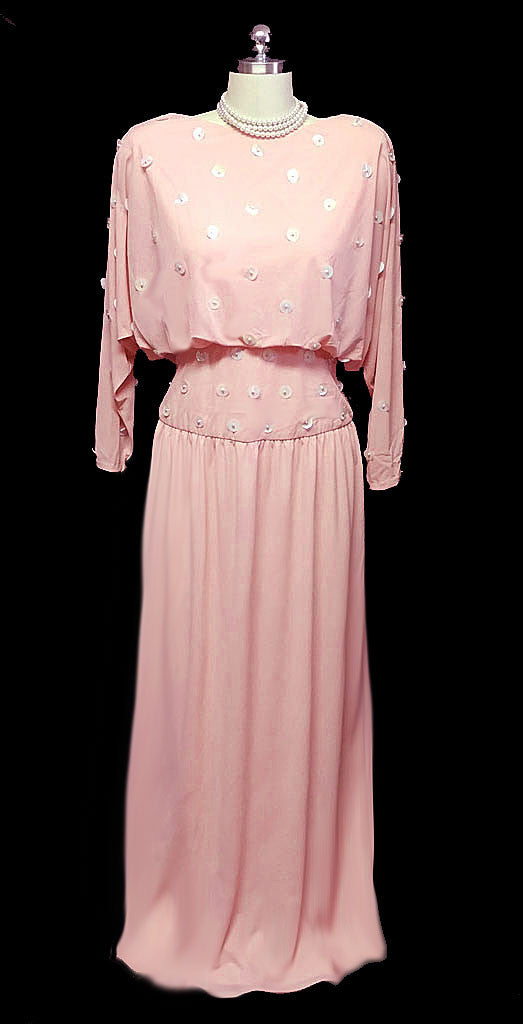VINTAGE LILLIE RUBIN PEARL & PAILLETTES BEADED PINK EVENING GOWN ...