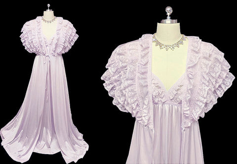 FANCY VINTAGE LILY OF FRANCE ROSA PULEO-SZULE LACE FABULOUS RUFFLED PEIGNOIR & NIGHTGOWN SET IN CROCUS
