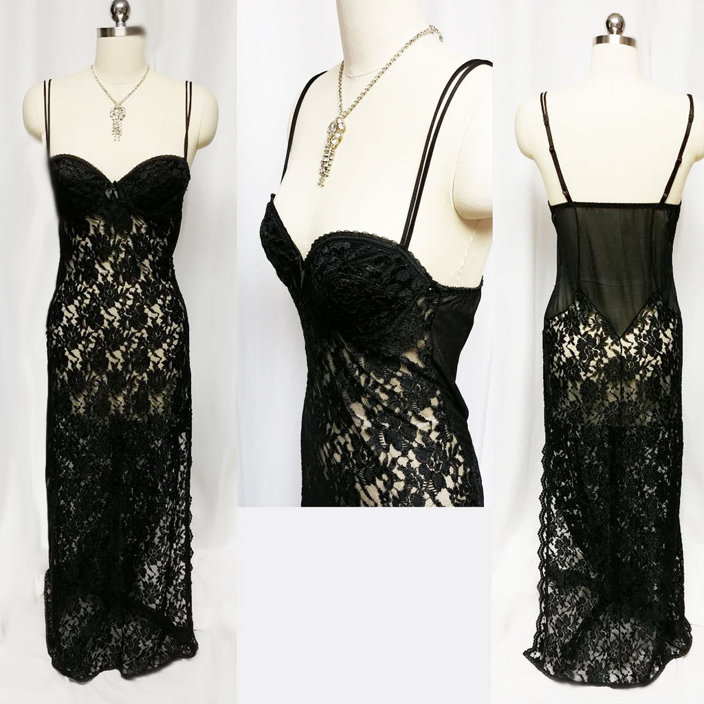 SOPHISTICATED VINTAGE LILY OF FRANCE BY DELORES SPANDEX BLACK LACE NIGHTGOWN WITH UNDERWIRE BRA