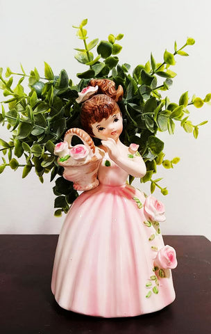 ADORABLE VINTAGE '50s / '60s SOUTHERN BELLE PLANTER WITH BASKET, PONYTAIL AND PINK DRESS SCATTERED WITH ROSES