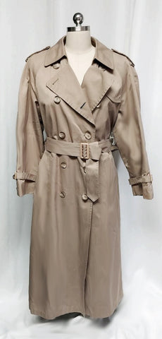 VINTAGE CLASSIC LONDON FOG TRENCHCOAT WITH BLACK WATCH PLAID ZIP OUT LINING - MADE IN THE U.S.A.