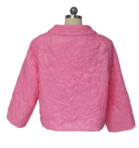 VINTAGE LORD & TAYLOR TEAHOUSE QUILTED BED JACKET IN JELLY BEAN PINK FROM HONG KONG