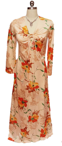 VINTAGE LORRAINE HIBISCUS PEIGNOIR AND NIGHTGOWN SET IN APRICOT