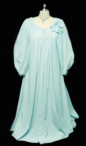 LUXURIOUS VINTAGE GRAND SWEEP CLAIRE SANDRA BY LUCIE ANN BEVERLY HILLS DOUBLE NYLON DRESSING GOWN PEIGNOIR IN HEAVEN SENT