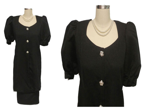 VINTAGE MA MERE BLACK FAILLE EVENING DRESS WITH SPARKLING RHINESTONE BUTTONS