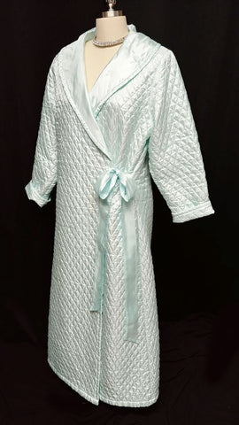 GLAMOROUS VINTAGE SATIN QUILTED ROBE WITH ORGANZA TIE IN GLACIER BLUE