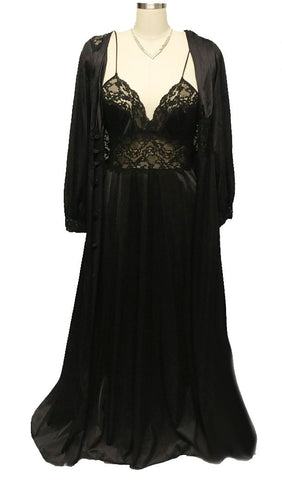 VINTAGE MAIDENFORM DREAMWEAR BLACK LACE & ANTRON III NYLON PEIGNOIR & NIGHTGOWN SET