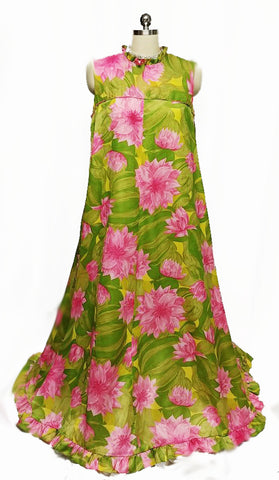 VINTAGE '60s FABULOUS MALIA MADE IN HONLULU GRAND SWEEP PINK & GREEN WATER LILIES DRESS - LARGE SIZE
