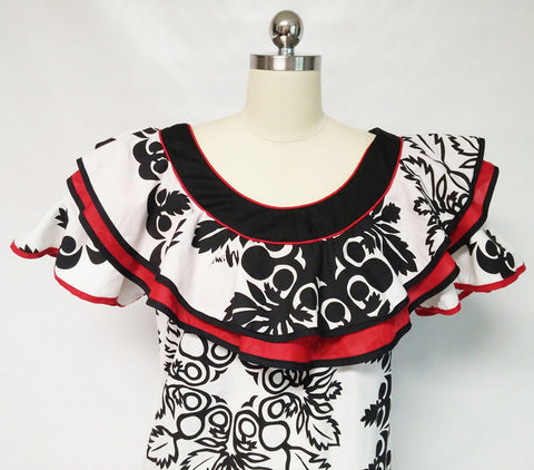 VINTAGE MAMO HOWELL FLAMENCO LOOK LOGO FLOUNCE DRESS MADE IN HAWAII