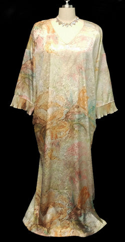 VINTAGE MARY McFADDEN DRESSING GOWN CAFTAN ADORNED IN A SHADE CALLED WATERCOLORS