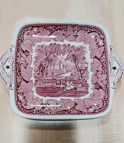 MINT CONDITION - NEVER USED - VINTAGE MASON'S VISTA PINK / RED TRANSFERWARE CAKE PLATE OR SANDWICH PLATE - NO CRAZING - NEVER USED - MADE IN ENGLAND