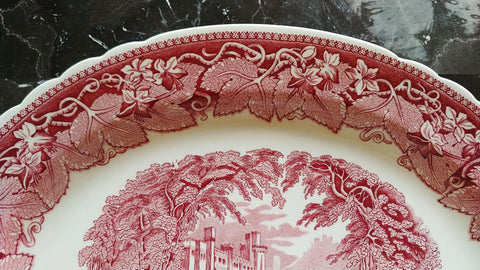 "MINT CONDITION - VINTAGE MASON'S VISTA PINK / RED TRANSFERWARE EXTRA LARGE PLATTER 15-1/2"" - NO CRAZING - NEVER USED - MADE IN ENGLAND"