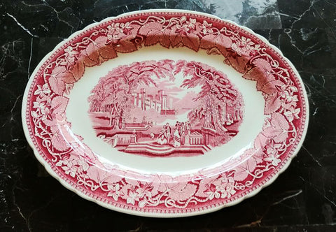 "MINT CONDITION - VINTAGE MASON'S VISTA PINK / RED TRANSFER EXTRA LARGE PLATTER 15-1/2"" - NO CRAZING - NEVER USED - MADE IN ENGLAND"