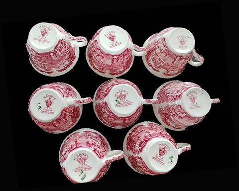 VINTAGE MASON'S VISTA PINK / RED TRANSFER SET OF 32 PC. SET OF DISHES FOR 8 - MANY NEVER USED - MADE IN ENGLAND
