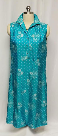 VINTAGE 1970s MELISSA MADE IN THAILAND SILK DRESS IN A GORGEOUS SHADE OF TURQUOISE