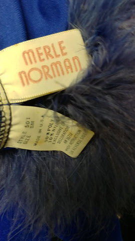 VINTAGE MERLE NORMAN VELVETY DRESSING GOWN ROBE ADORNED WITH FLUFFY MARABOU IN RENAISSANCE BLUE