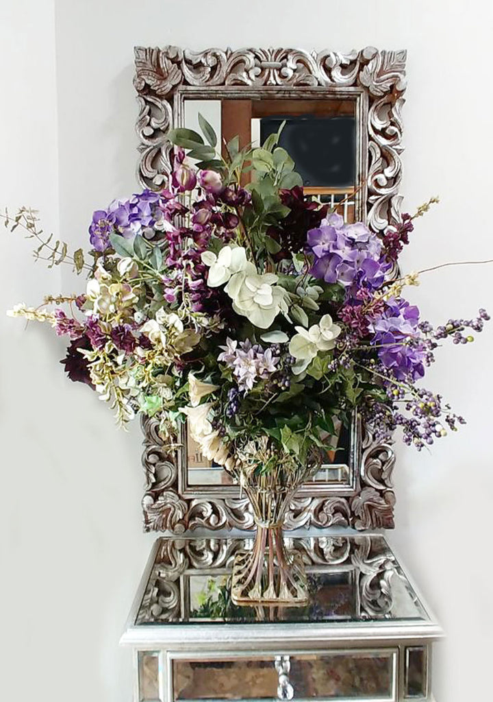 VINTAGE METAL VASE WITH HUGE FLORAL ARRANGEMENT IN SHADES OF LAVENDERS CALLED VICTORIAN GARDEN