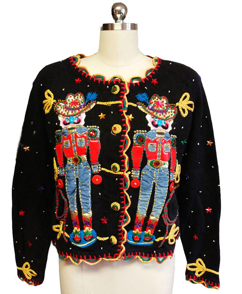 VINTAGE '90s MICHAEL SIMON COWBOY SWEATER WITH AMAZING DETAILING!