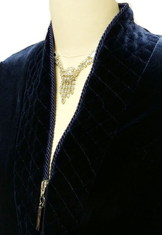 NEW - DIAMOND TEA LUXURIOUS ZIP UP FRONT VELOUR ROBE IN MIDNIGHT NAVY - SIZE LARGE #1