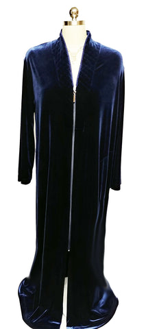 NEW - DIAMOND TEA LUXURIOUS ZIP UP FRONT VELOUR ROBE IN MIDNIGHT NAVY - SIZE SMALL #1