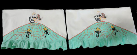 VINTAGE HEIRLOOM HAND EMBROIDERED & RUFFLES SOUTHERN BELLE & GENTLEMAN PILLOW CASES - 1 PAIR - LIKE NEW