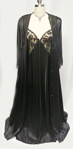 VINTAGE MISS ELAINE LACE NIGHTGOWN & BLACK PEIGNOIR WITH HUGE ANGEL SLEEVES & BOW