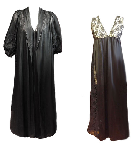 VINTAGE 60s / '70s MISS ELAINE DOUBLE NYLON BLACK PEIGNOIR & NIGHTGOWN
