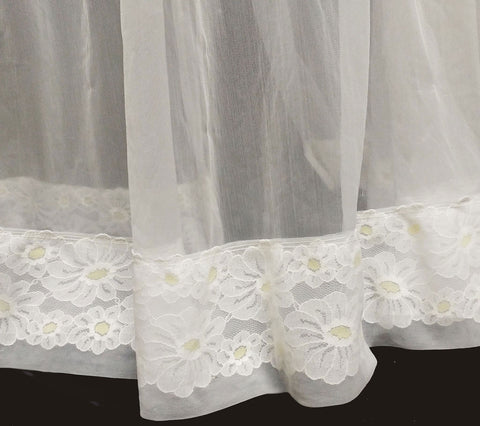 VINTAGE MISS ELAINE DAISY SHEER NYLON & LACE PEIGNOIR IN BRIDAL WHITE