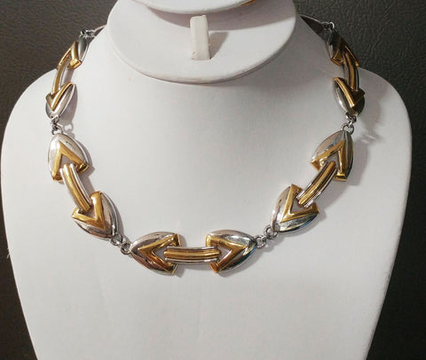 VINTAGE '80s MONET GOLD & SILVER TONE POWER NECKLACE