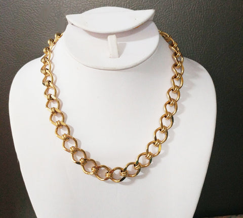 VINTAGE '80s MONET GOLD TONE SPARKLING LINK NECKLACE WITH UNIQUE CLASP