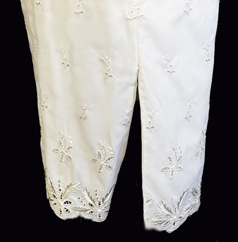 FANCY VINTAGE MOVIE STAR GLISTENING SILVERY WHITE EMBROIDERED EYELET HALF SLIP  - MADE IN THE U.A.
