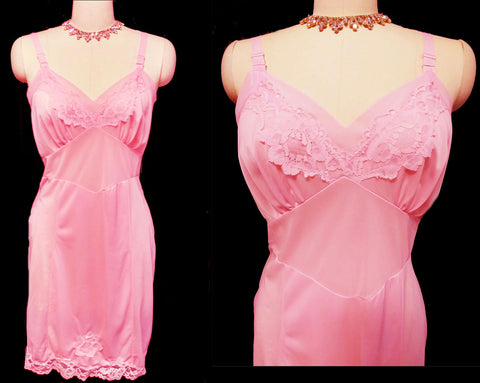 VINTAGE '60s MOVIE STAR LACE SLIP IN BUBBLE GUM PINK