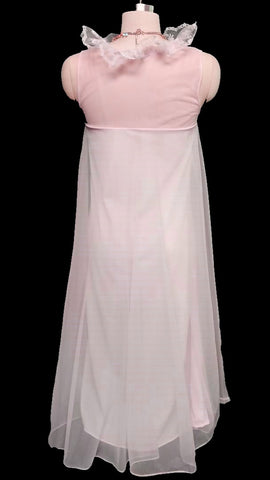 VINTAGE MOVIE STAR DOUBLE NYLON RUFFLE NIGHTGOWN IN ROSE PETAL- SO FEMININE